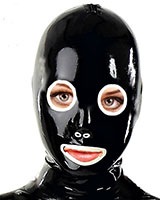 Latex Hood with Round Eyes / Gag / Zip