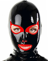 Anatomical Latex Hood with Cat Eyes and Back Zipper