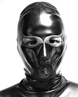 Latex Hood with Cat Eyes and Inflatable Gag