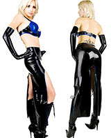 Long Glued Latex Skirt with Slits