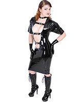 Plunge Latex Mini Dress with Buckles