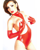 Latex Leotard with Cut Out Breasts