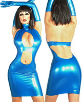 Glued Latex Mini Dress Neckholder