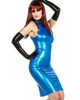 High Neck Latex Mini Dress