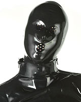 Latex Hood with Swiss Cheese Eyes and Mouth Holes