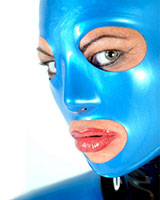 Anatomical Female Latex Hood with Mouth, Eyes and Nose Openings