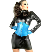 Long Sleeved Latex Mini Dress