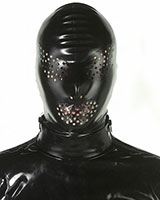Back Zipped Latex Hood with Swiss Cheese Eyes and Mouth Holes