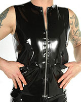 Glued Latex Waistcoat with Pockets and Zipper