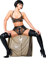 Long Glued Latex Skirt with Hot Pants