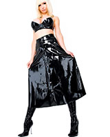 Long Latex Skirt with Button Border