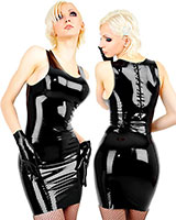 Latex Mini Dress with Back Zip