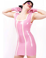 Glued Latex Mini Dress with Contrast Colour