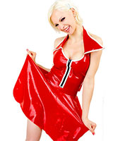 Glued Latex Mini Skirt with Slits