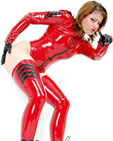 Ladies Latex Body with 3 Way Zipper and Uniform Stripes