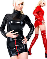 Latex Mini Dress with 2 Zippers