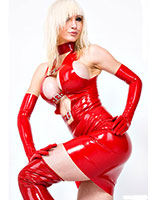 Glued Latex Mini Dress with Buckles
