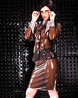 Glued Latex Pencil Skirt with Slit
