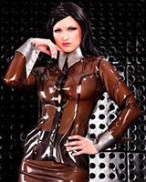 Glued Latex Secretary Blouse