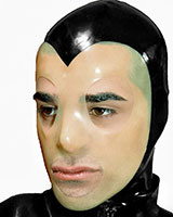 Male Latex Hood with Contrast Colour Face Mask and Zipper