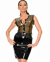 Stitched Latex Pencil Skirt with Slit - up to 3XL