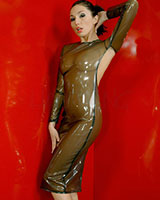 Sewn Latex Backless Pencil Dress