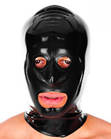 Latex Hood with Reinforced Openings - also with Zipper