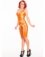 Latex Vintage Style Pencil Dress with Contrast Details