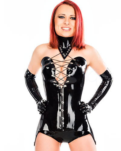 Glued 1mm Latex Corset with Neck Corset and Suspenders