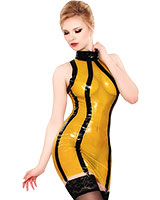 Latex Yellow Transparent Mini Dress with Black Details