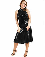 Anatomical Sleeveless Latex Dress with Flared Skirt