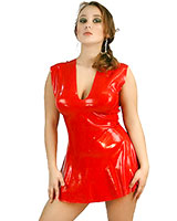 Anatomical Moulded Latex Mini Dress with Flared Skirt