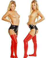 Anatomical Latex Suspender Pants - with Internal Dildo(s)