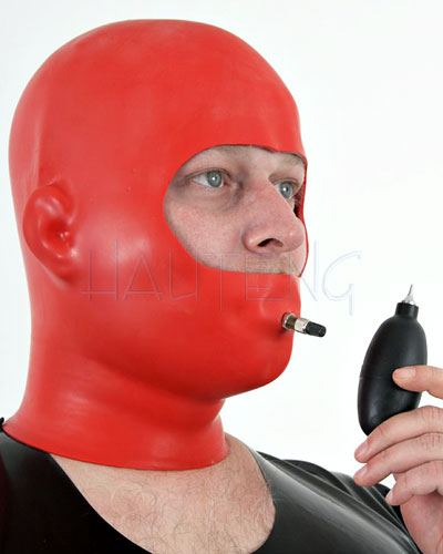 Anatomical Thick Latex Discipline Hood with Inflatable Gag