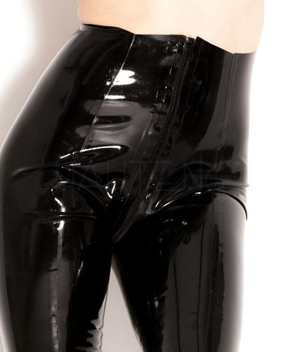 Black Glued Latex Tights with 2 Way Zipper