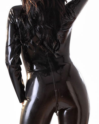 Glued Latex Catsuit with 2 Way Front Zipper - up to 4XL
