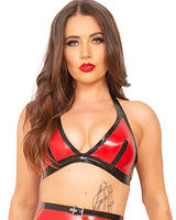 Glued Black with Red Rubber Seducer Bra