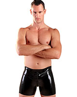 Glued Black Latex Boxer Shorts wth 2 Way Zip