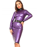 Glued Purple-Metallic Latex Incognito Dress