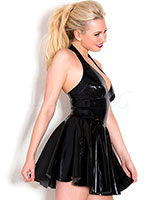 Glued Black Latex Sandy Halter Dress