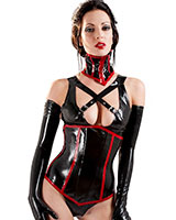 Glud Latex Black with Red Vixen Corset