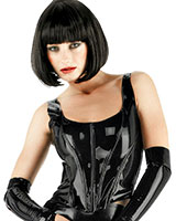 Glued Latex Black Boned Corset Top