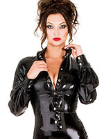 Glued Black Latex Fitted Blouse