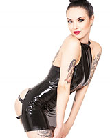Glued Black Latex Spanking Dress