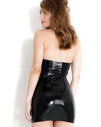 Glued Black Latex Mini Halter Dress