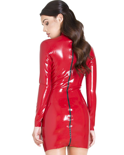 Glued Latex Long Sleeved Goddess Dress - Red or Black