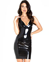 Plunge-Neck Black Glued Latex Mini Dress