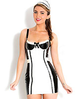 Glued Latex French Maid's Dress with Cap - up to 4XL
