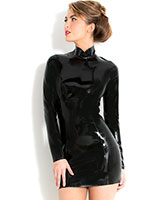 Midnight Dress aus geklebtem schwarzem Latex - bis 3XL