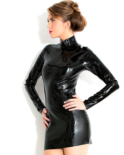 Glued Black Latex Midnight Dress - up to 4XL